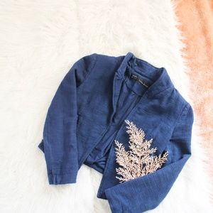 Zara Blue Cotton Zipped Moto Jacket
